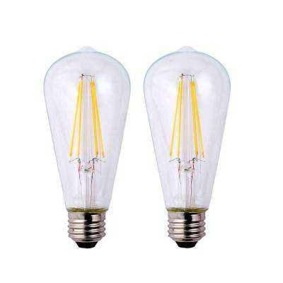 40-Watt Equivalent ST19 Dimmable Clear Filament Vintage Style LED Light Bulb, Daylight (2-Pack)