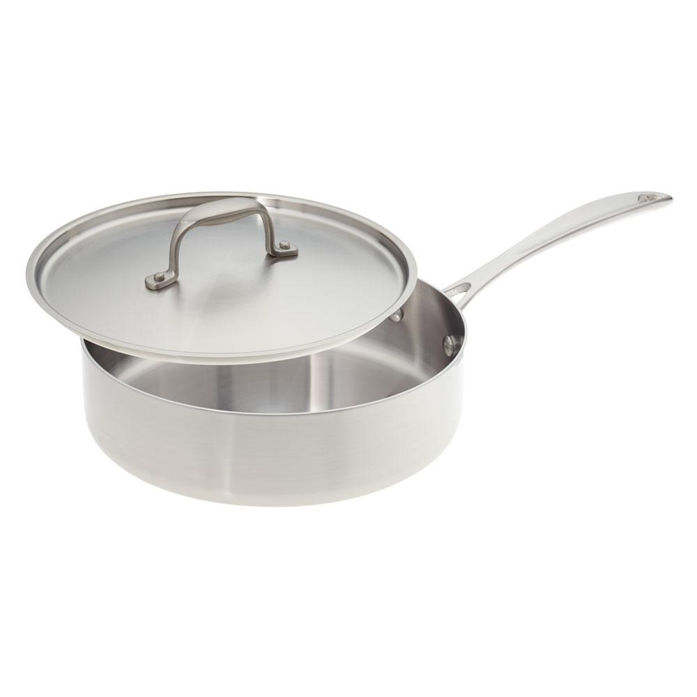 American Kitchen 10 In Premium Stainless Steel Saute Pan With Cover Ak010 Fp The Home Depot