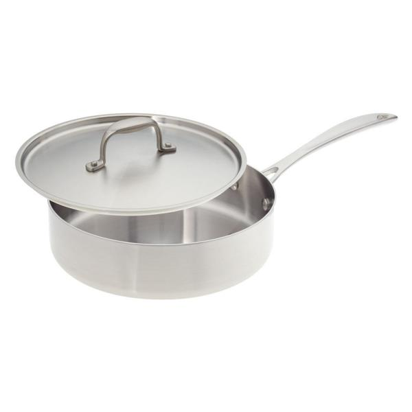 American Kitchen 10 in. Premium Stainless Steel Saute Pan with Cover