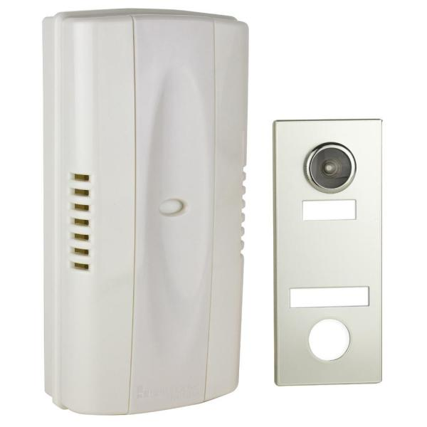 2-Note Mechanical Wireless Doorbell Chime and Doorbell Push Button with Built-In Door Viewer, Silver
