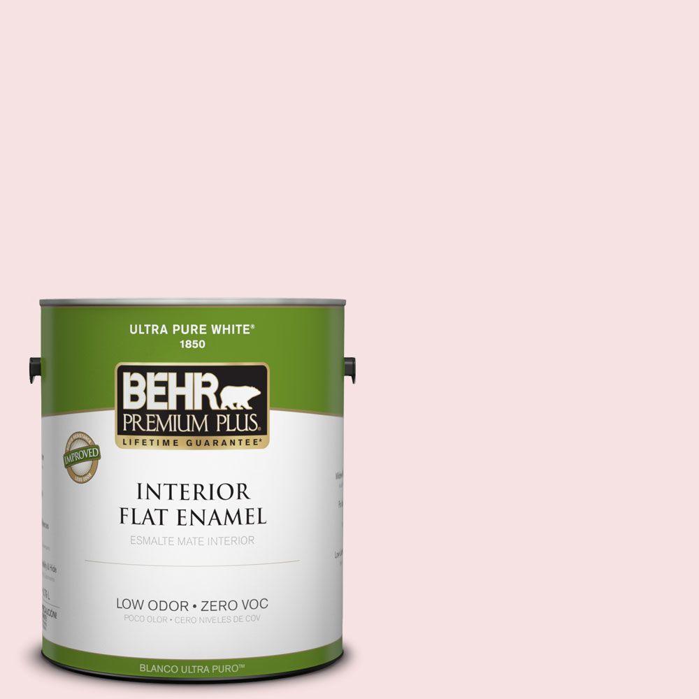 BEHR Premium Plus 1-gal. #140A-1 Strawberry Yogurt Zero VOC Flat Enamel Interior Paint-DISCONTINUED