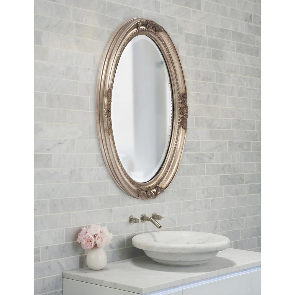 25 In X 33 In Warm Antique Silver Oval Framed Mirror 4015 The