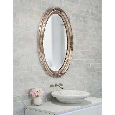 25 in. x 33 in. Warm Antique Silver Oval Framed Mirror