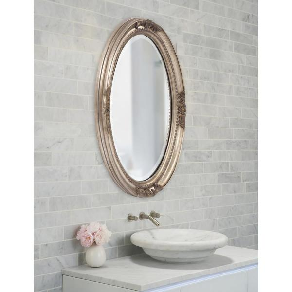 25 In X 33 In Warm Antique Silver Oval Framed Mirror