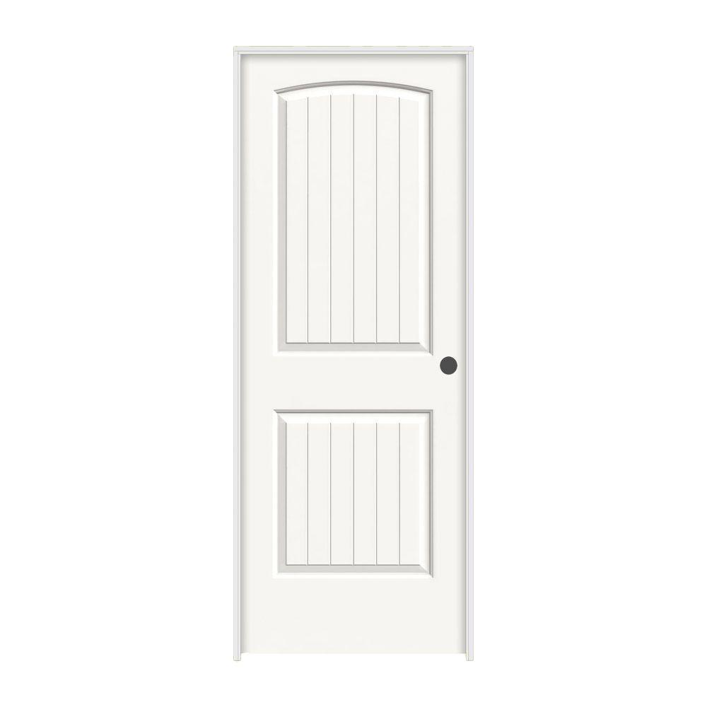 JELD-WEN 24 in. x 80 in. Santa Fe White Painted Left-Hand Smooth Solid Core Molded Composite MDF Single Prehung Interior Door