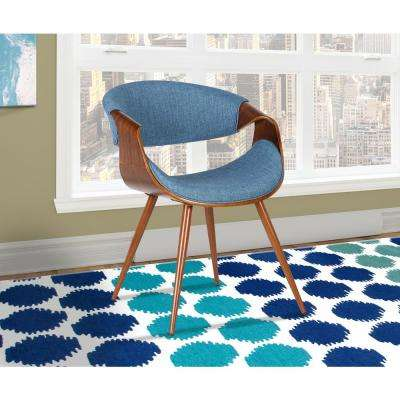 Butterfly 29 in. Blue Fabric and Walnut Wood Finish Mid-Century Dining Chair