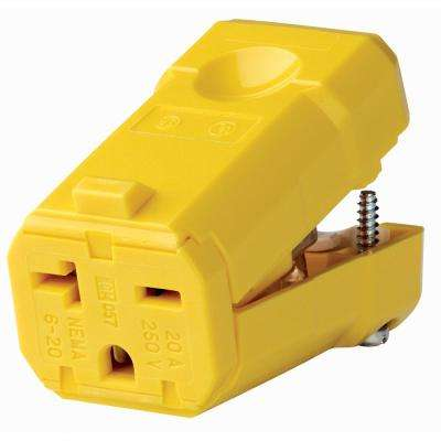 20 Amp 250-Volt Straight Blade Grounding Connector, Yellow
