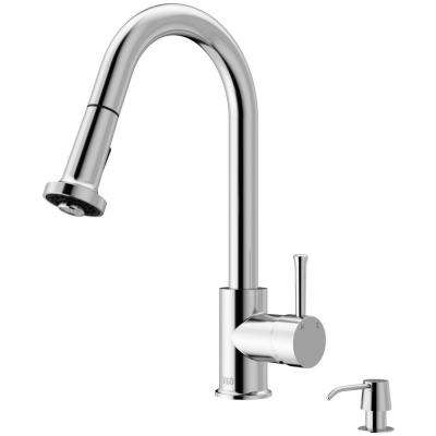 Harrison Single-Handle Pull-Down Sprayer Kitchen Faucet with Soap Dispenser in Chrome