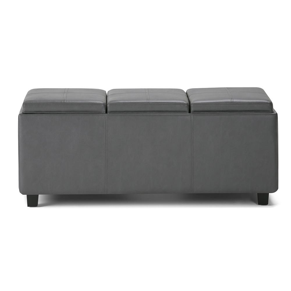 Avalon Stone Grey Extra Large Storage Ottoman Bench With 3 Serving Trays