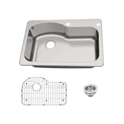 Dual Mount 18-Gauge Stainless Steel 33 in. 2-Hole Euro Style Single Bowl Kitchen Sink with Grid and Drain Assembly