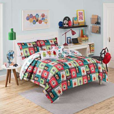 2-Piece Robotic Red Polyester Twin Comforter Set