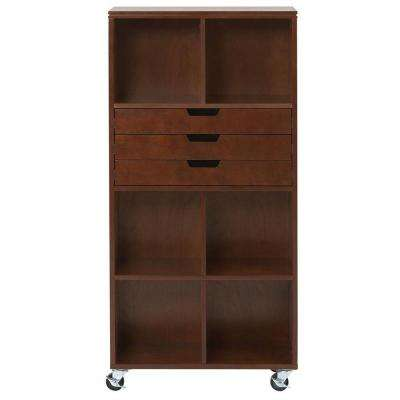 Avery 6-Cube MDF Tall Mobile Cart in Chestnut