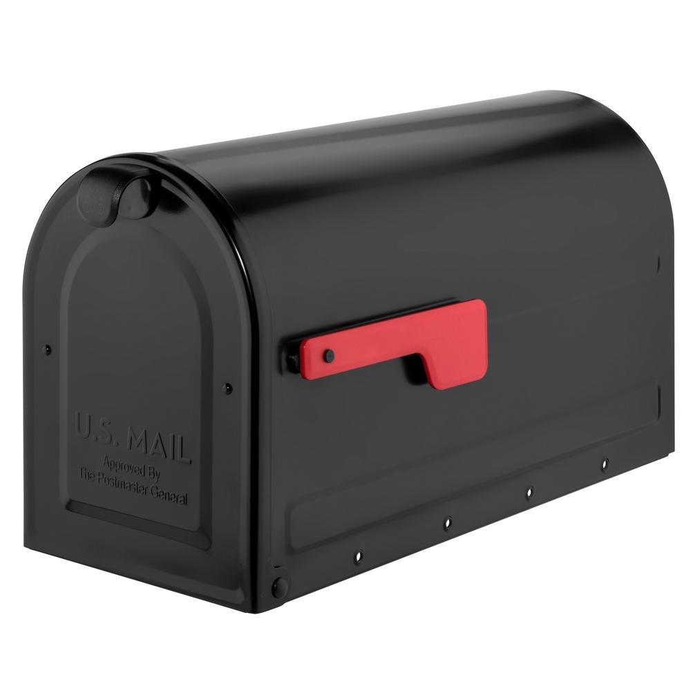 MB2 Post Mount Mailbox Black with Red Flag