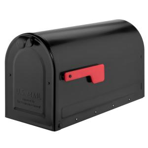 Post Mount Mailbox Large Size Ribbed Body Galvanized Steel Black Front Access