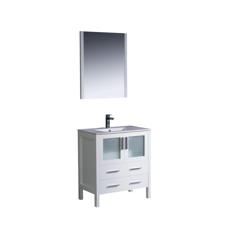 Fresca Torino 30 In Vanity White With Ceramic Top Basin And Mirror