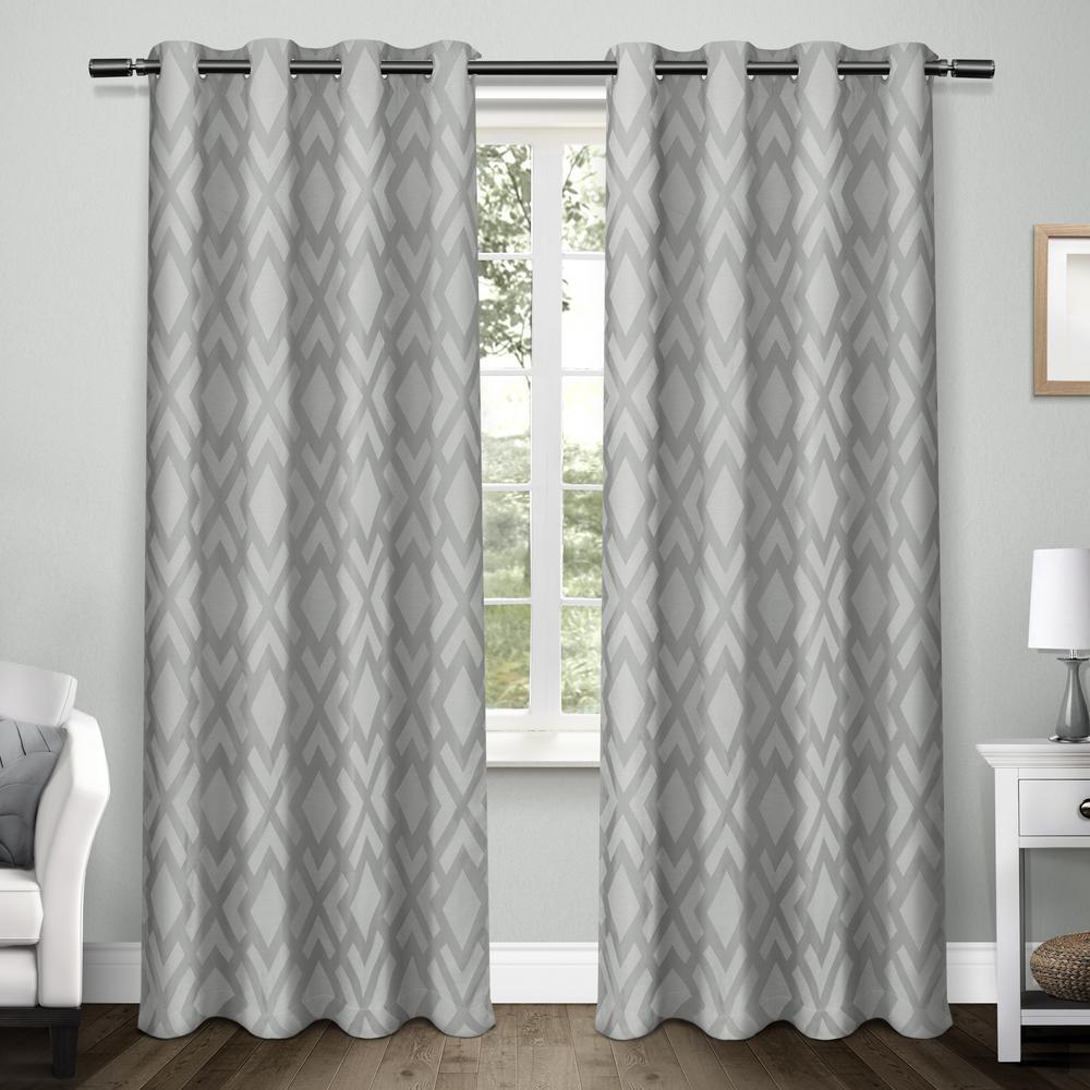 Easton 54 in. W x 96 in. L Woven Blackout Grommet Top Curtain Panel in Steel Blue (2 Panels)