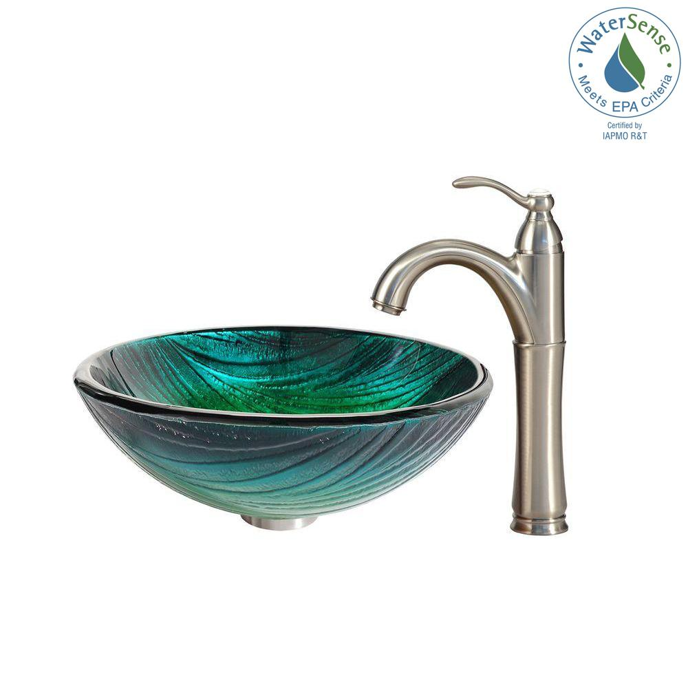 Kraus Nei Glass Vessel Sink In Green With Riviera Faucet In Satin