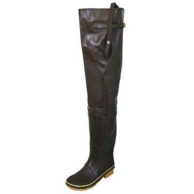 Mens Size 13 Rubber Waterproof Insulated Reinforced Toe and Knee Adjustable Strap Cleated Hip Boots in Brown
