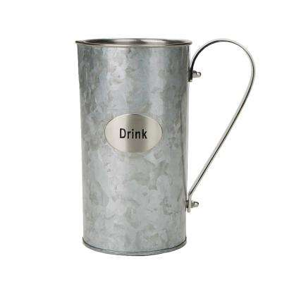 60 fl. oz. Silver Stainless Steel Water Beverage Pitcher Decorative Double Wall Pitcher