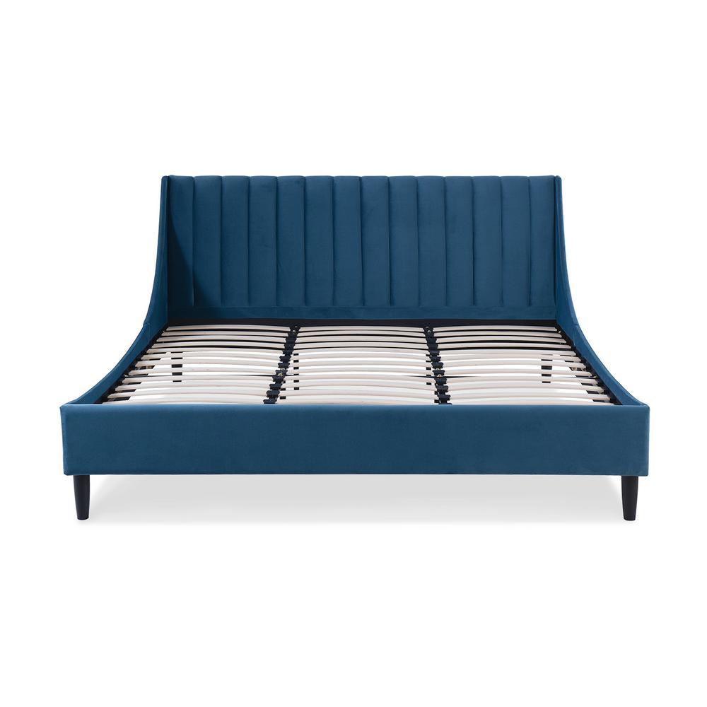 Aspen Upholstered Satin Teal King Bed