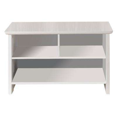 White Wood Cubby Shoe Storage Bench