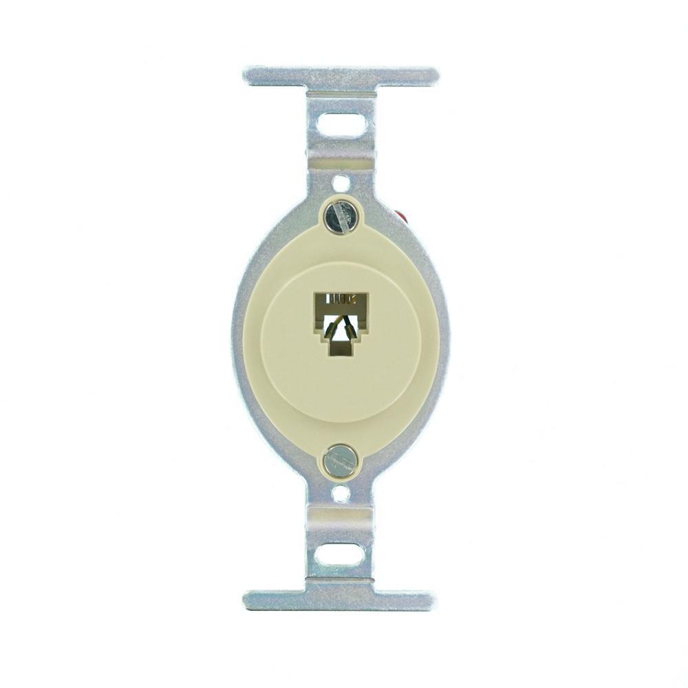 Round Insert Ivory Leviton 40201-I 6P4C Screw Terminal