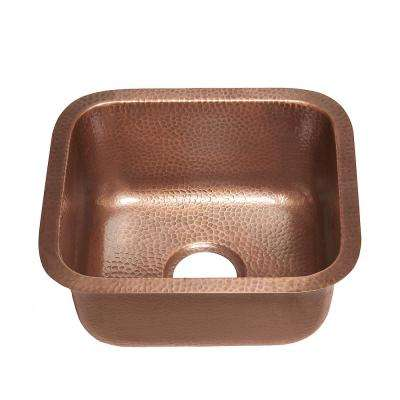 Sisley 17 Undermount Handmade Copper Sink 15 in. 0-Hole Bar Prep Sink in Antique Copper