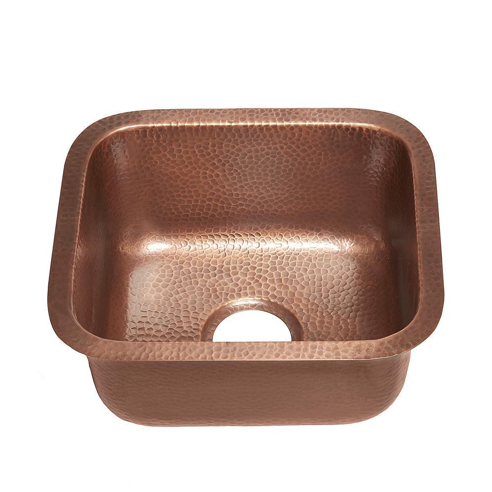 Sisley Undermount Solid Copper 17 in. Single Bowl Prep Kitchen Sink in Antique Copper