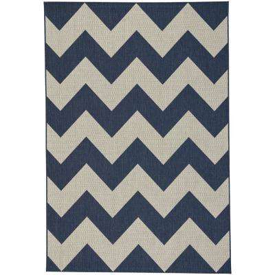 Elsinore-Chevron Midnight Blue 3 ft. 11 in. x 5 ft. 6 in. Indoor/Outdoor Area Rug