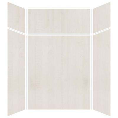 Expressions 42 in. x 60 in. x 96 in. 4-Piece Easy Up Adhesive Alcove Shower Wall Surround in Bleached Oak