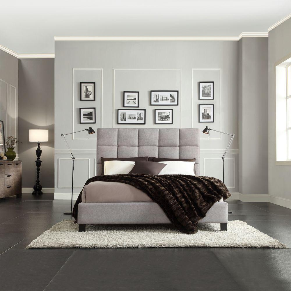 HomeSullivan Calais Grey Full Upholstered Bed
