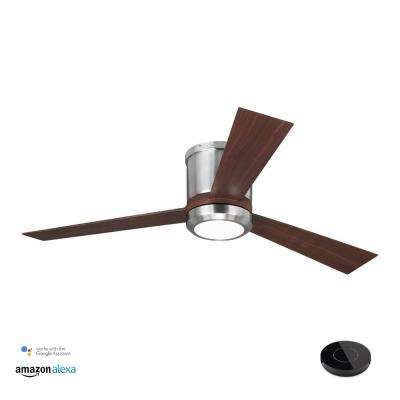 Clarity 52 in. LED Brushed Steel Ceiling Fan with LED Light Kit Works with Google Assistant and Alexa