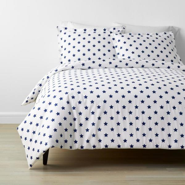 The Company Store Company Kids Stars 4 Piece Blue Geometric 200 Thread Count Organic Cotton Percale Full Sheet Set 30359l F Blue The Home Depot