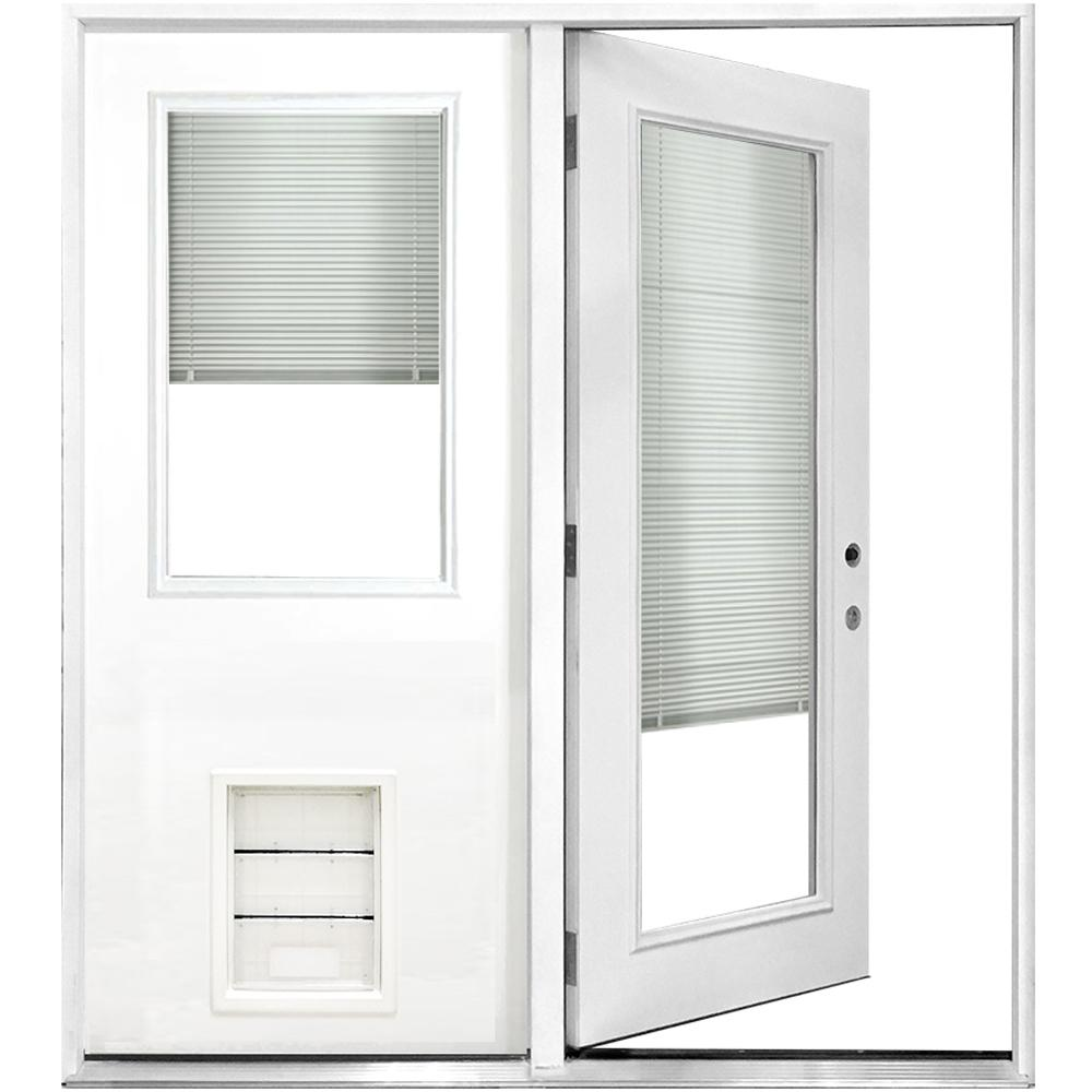 Steves & Sons 60 in. x 80 in. Mini-Blind White Primed Prehung Left-Hand Inswing Fiberglass Center Hinge Patio Door with XL Pet Door