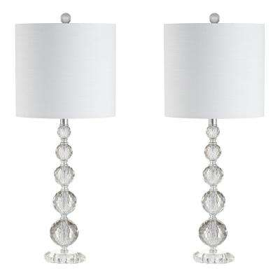 Nala 28.5 in. Crystal Table Lamp, Clear/Chrome (Set of 2)