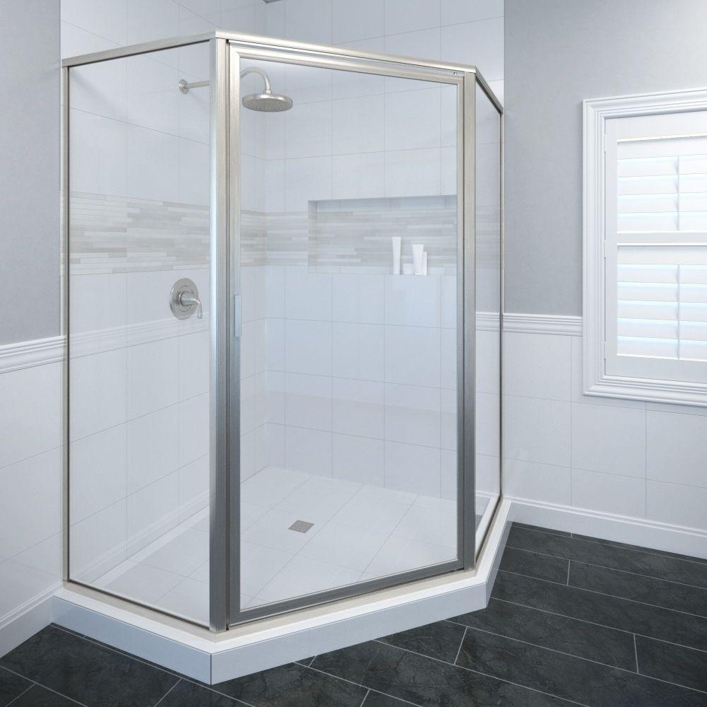Basco Deluxe 26-1/2 in. x 68-5/8 in. Framed Neo-Angle Hinged Shower Door in Brushed Nickel