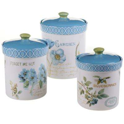 The Greenhouse Green and Blue Hand painted Earthenware Canister Set (3-Piece)