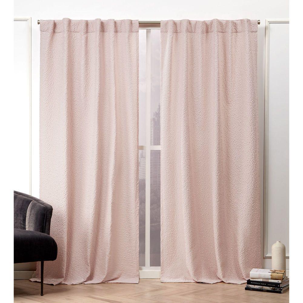 Textured Matelass Blush  Room Darkening Hidden Tab Top Curtain Panel - 50 in. W x 96 in. L  (2-Panel)