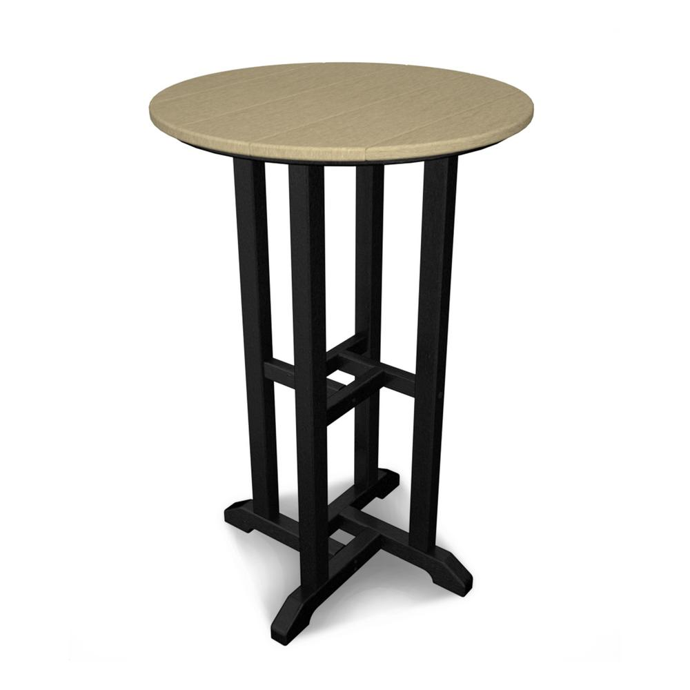 POLYWOOD Contempo Black Frame/Sand Top Outdoor Patio Bar Height ...
