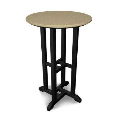 Contempo Black Frame/Sand Top Outdoor Patio Bar Height Dining Table