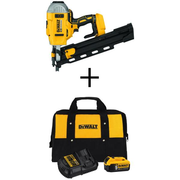 DEWALT 20-Volt MAX 21-Degree Cordless Framing Nailer with Bonus Premium Battery Pack 5.0 Ah, Charger and Kit Bag