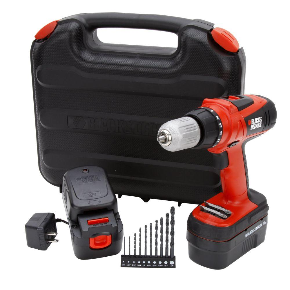 BLACK+DECKER 18-Volt Ni-Cad 1/2 in. Cordless High Performance Drill / Driver with 2 Batteries and Storage