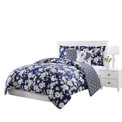 Sherry Navy and White Full and Queen 5-Piece Reversible Comforter Set