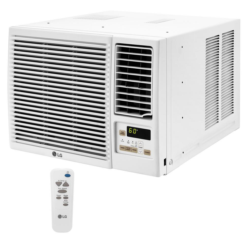 LG 7,500 BTU 115-Volt Window Air Conditioner with Cool, Heat and Remote in White
