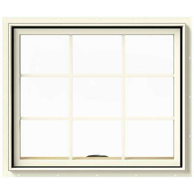 36 in. x 30 in. W-2500 Series Cream Painted Clad Wood Awning Window w/ Natural Interior and Screen