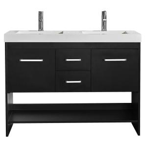 Siena 48 inch W x 21 inch D Vanity in Espresso with Acrylic Vanity Top in White with Double White Basins by