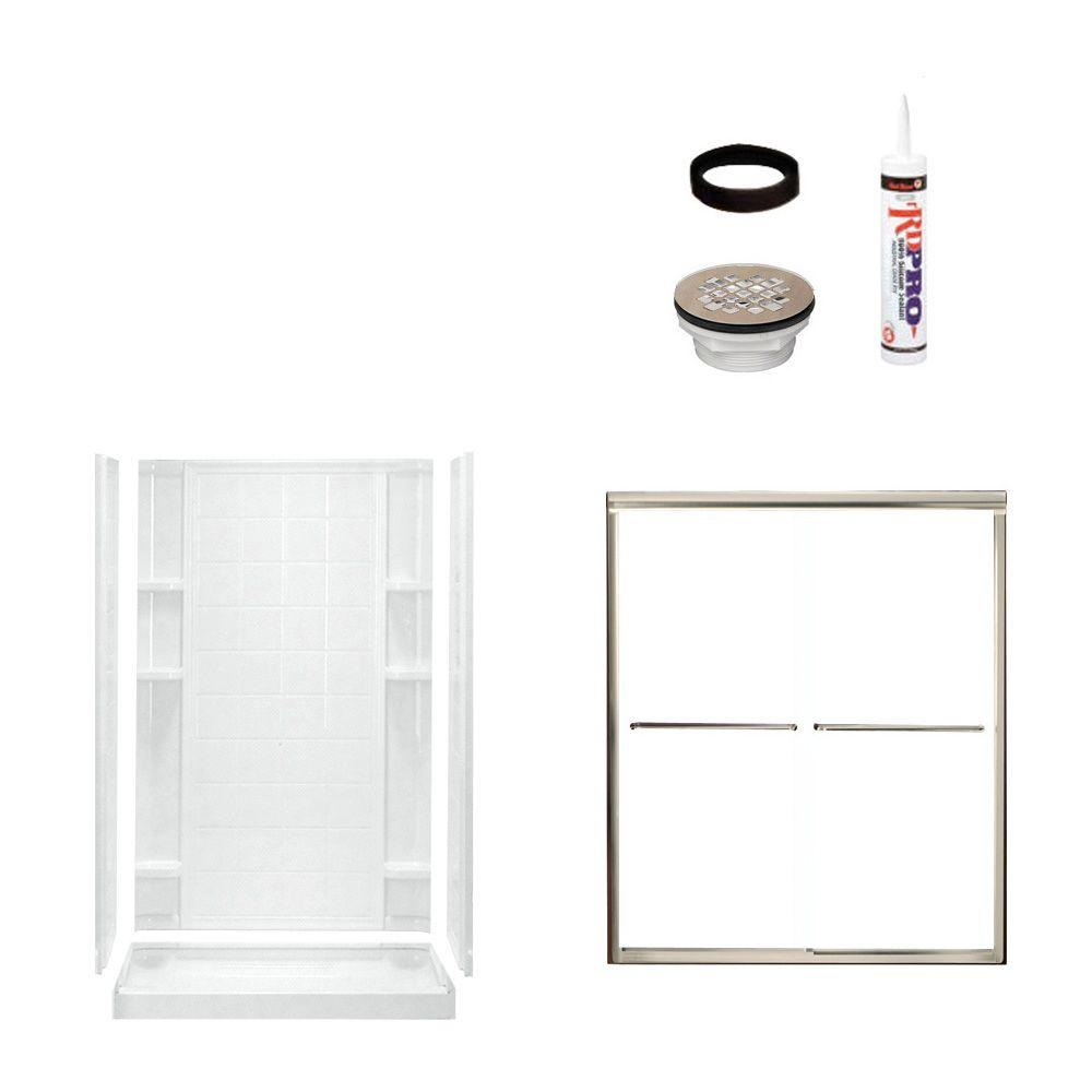 STERLING Ensemble Tile 48 in. x 34 in. x 75-3/4 in. Shower Kit with Shower Door in White/Nickel-DISCONTINUED