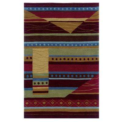 Trio Collection Green and Garnet 8 ft. x 10 ft. Indoor Area Rug