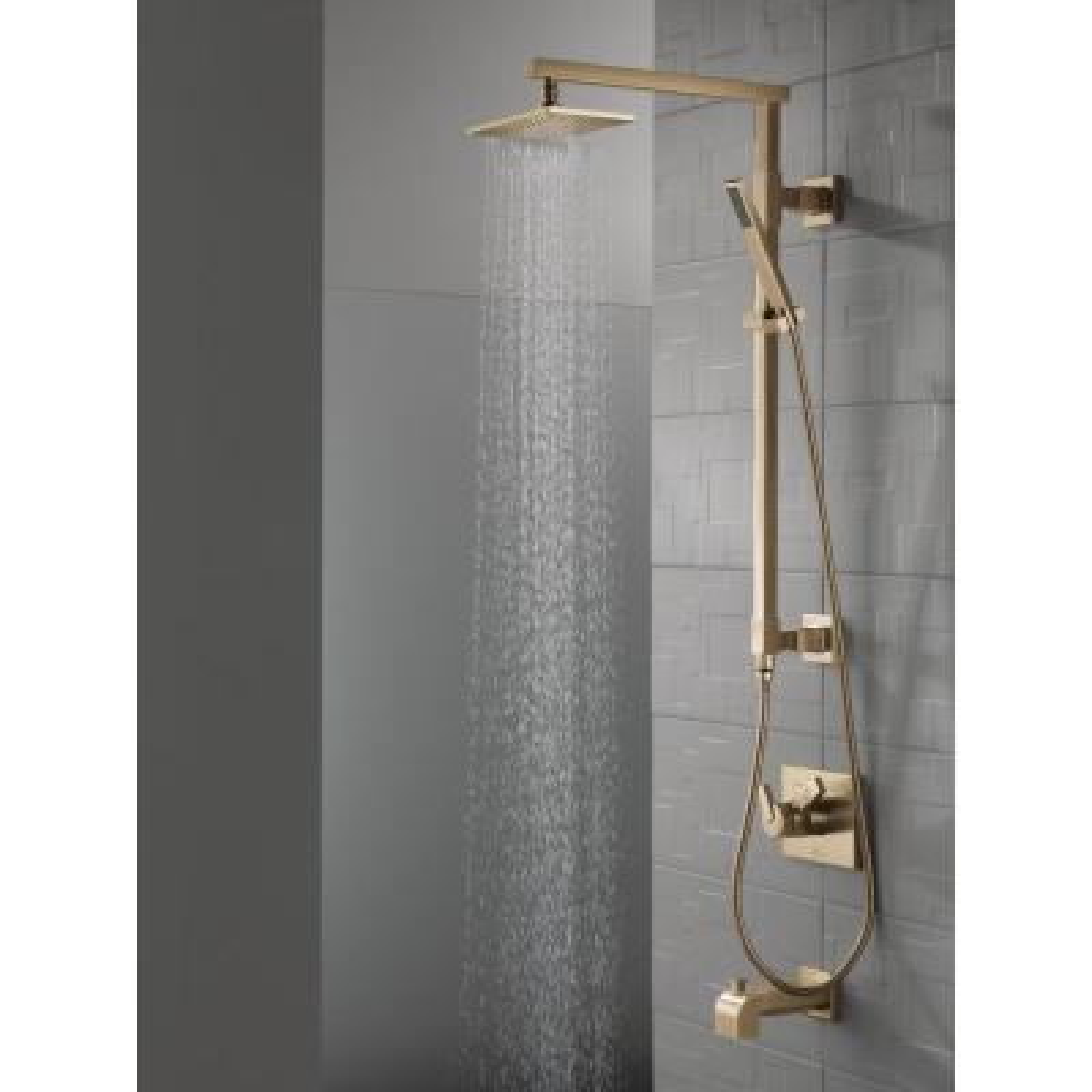 Vero 1-Spray 8.6 in. Single Wall Mount Fixed Rain Shower Head in Champagne Bronze
