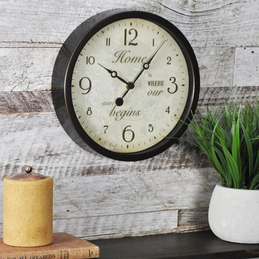 La crosse technology 10 in h round brown solid wood analog wall 10 in round sentiments wall clock amipublicfo Gallery
